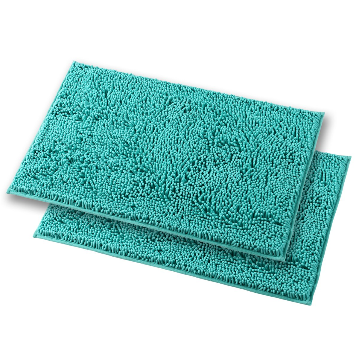 Mayshine Bath mats for Bathroom Rugs Non Slip Machine Washable Soft Microfiber 2 Pack (20×32 inches, Turquoise)