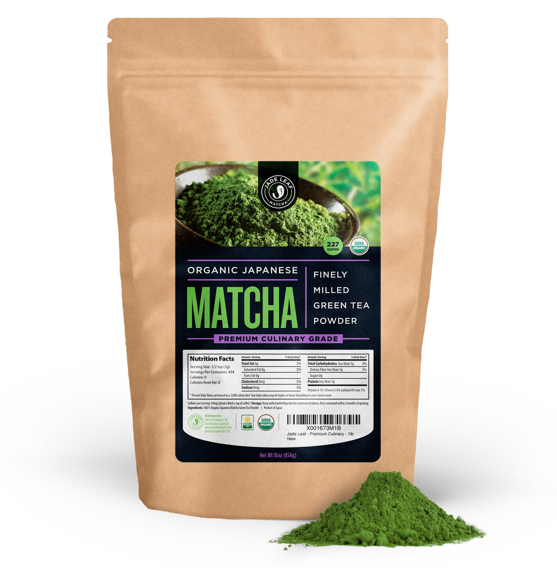 Jade Leaf - Organic Japanese Matcha Green Tea Powder, Premium Culinary Grade (Preferred By Chefs and Cafes for Blending & Baking) - [1lb Bulk Size]