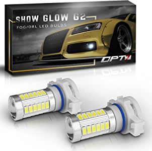 OPT7 Show Glow G2 5202 2504 LED Fog Light Bulbs - 6000K Cool White @ 395 LMS per Bulb - All Bulb Sizes and Colors - 1 Year Warranty (Pack of 2)