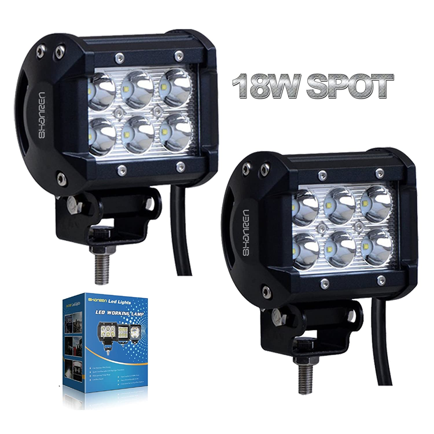 Shanren 2pcs 4 18w Cree Led Work Light Bar Spot Beam 30 Details About Flood Driving Wiring Button On Off Degree Waterproof For Road Truck Car Atv Suv Jeep Boat 4wd Auxiliary