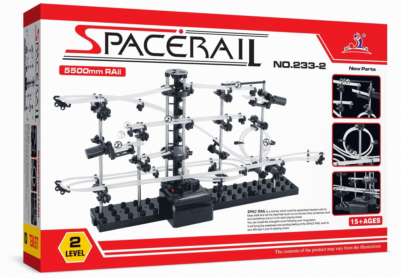SpaceRail Glow in The Dark 5,500mm Rail, Roller Coaster Building Set, Marble Roller Coaster Kit with Steel Balls, Great Educational Toy for Boys and Girls, Level 2.2