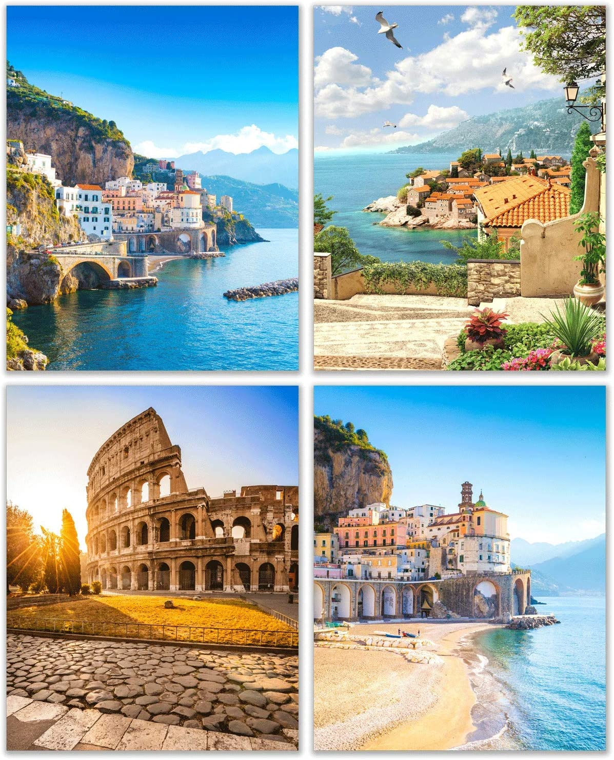 Italy Photography Prints - Italian Scenery - Set of 4 (8x10 Inches) Wall Art Decor - Vibrant Vivid Blue Skys - Sunset Colosseum - Sea - Beach Villas - Coastal Landscape