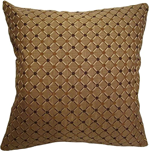 ReynosoHomeDecor 26×26 Shades of Brown Dotted Brocade Decorative Throw Pillow Tronco Collection