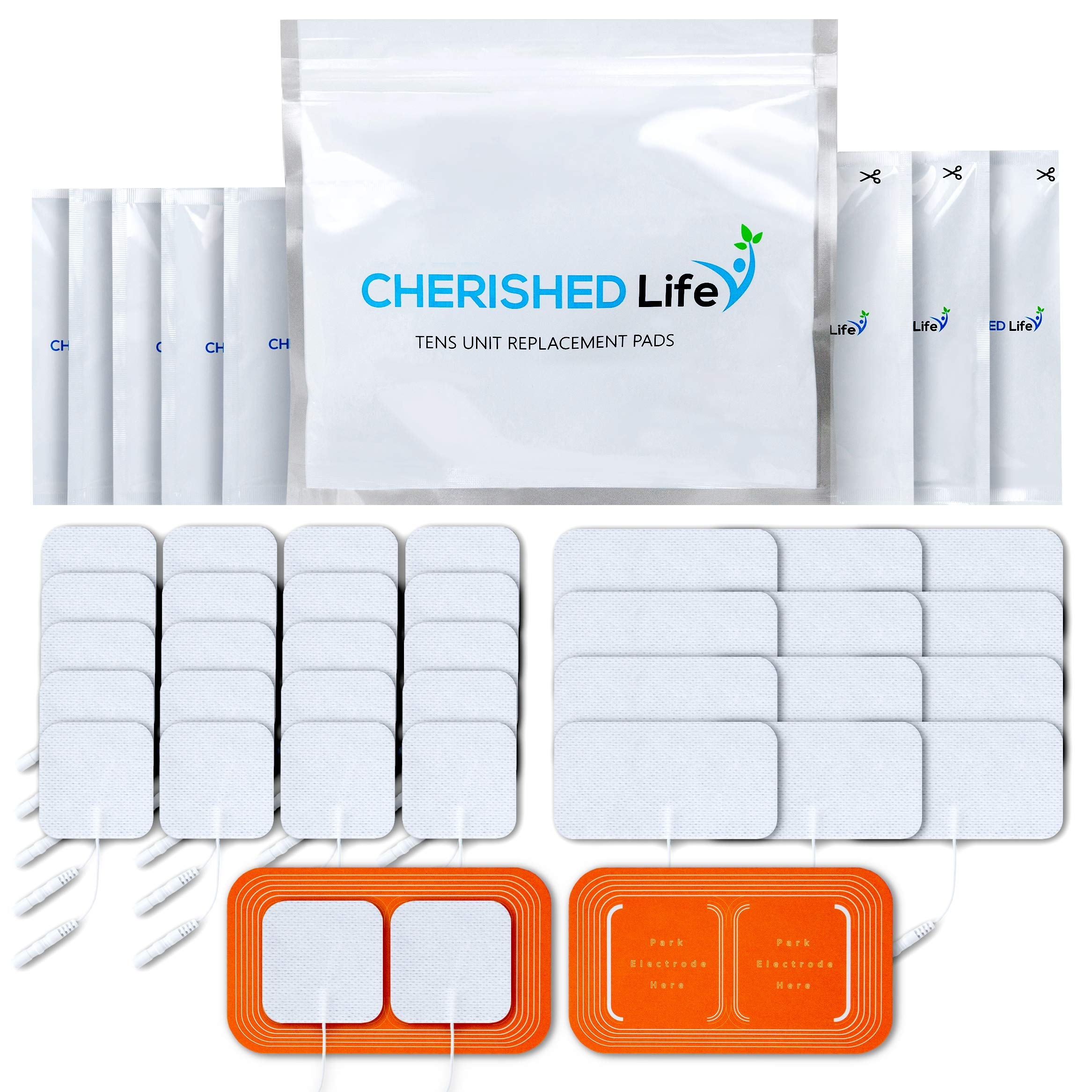 TENS Unit Pads Premium Multi Pack of Latex-Free, Non-Irritating Replacement Electrode Patches for Muscle Stimulation Massage Electrotherapy - 34pcs (2x2in Small, 2x4in XL, Pad Holders) by Cherished Life (Image #1)