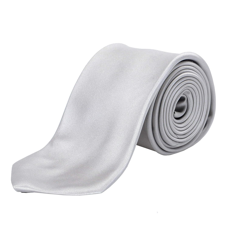 Hugo Boss Mens Light Gray 100/% Silk Tie
