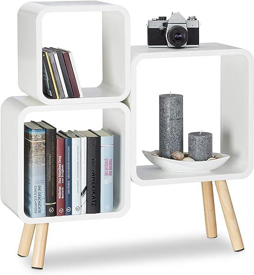 W/ürfelregal im Retro Design schwarz B/ücherregal Holz HBT: 70 x 67 x 20 cm Relaxdays Regalsystem Cube mit 4 Beinen