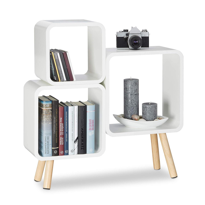 Relaxdays Regalsystem Cube mit 4 Beinen, Bücherregal Holz, Würfelregal im Retro Design, MDF, HBT  70 x 67 x 20 cm, weiß