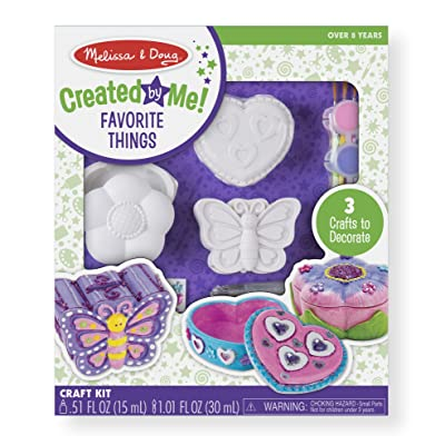 Melissa & Doug Decorate-Your-Own Favorite Things Craft Kits Set: Flower and Heart Treasure Box and Butterfly Bank: Melissa & Doug: Toys & Games