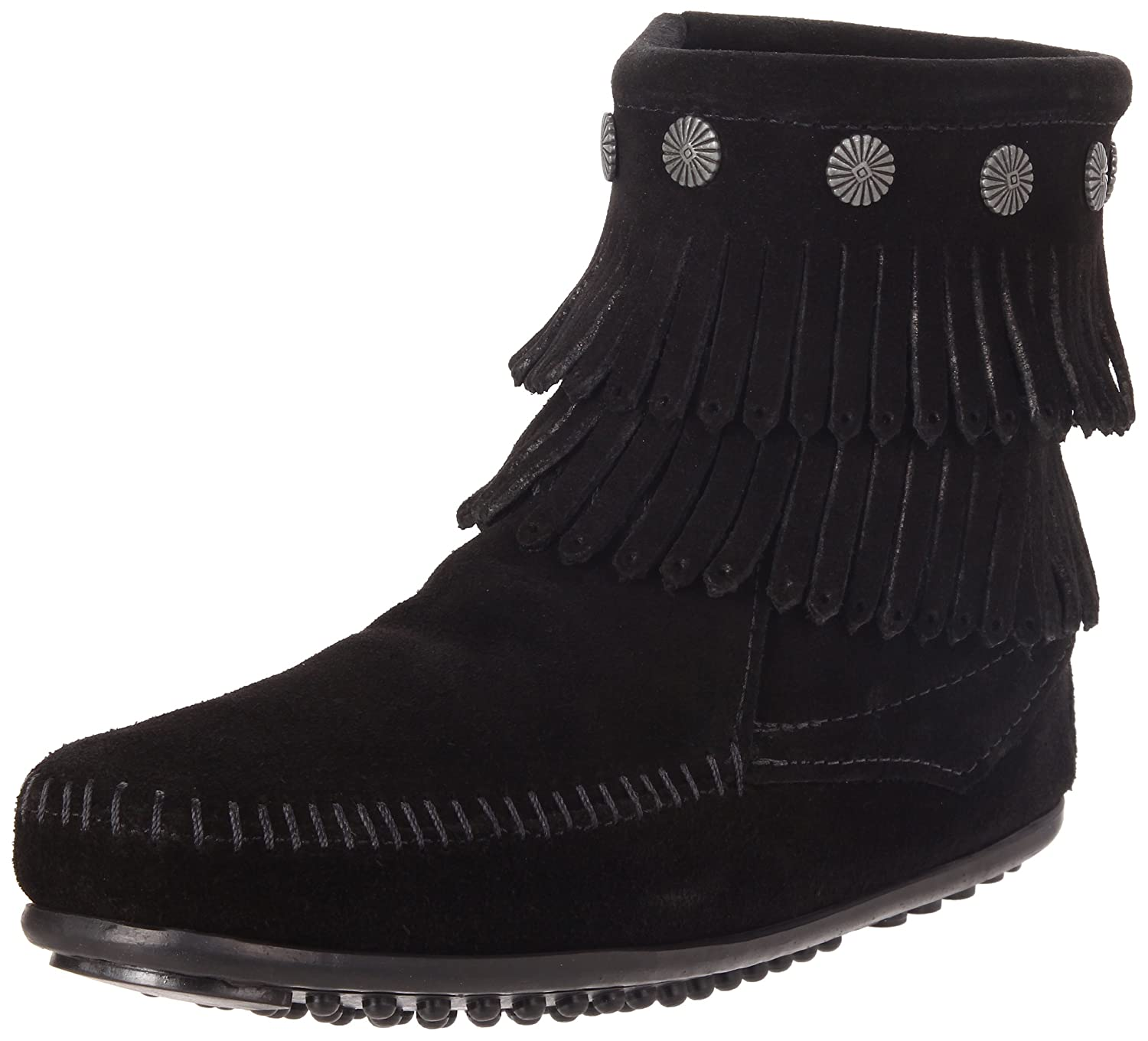 Minnetonka Women's Double-Fringe Side-Zip Boot B004UETQ5C 7.5 B(M) US|Black