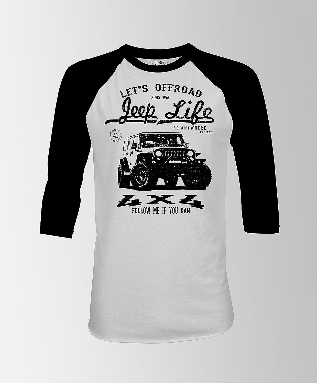 Jeep life t-shirt | offroad t-shirt | 4x4 jeep t-shirt | follow me if you can t-shirt | jeepoholic | raglan t-shirt | RAGLAN 3/4