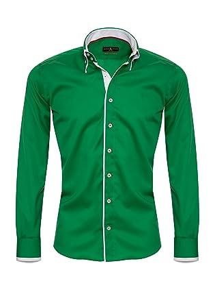 los angeles a0332 afa78 Giorgio Capone Premium Design Herrenhemd, Grün mit Weißen ...