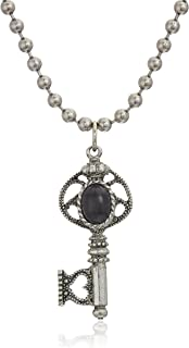 product image for 1928 Jewelry Antiqued Pewter Tone Black Center Key Charm Pendant Necklace, 24""