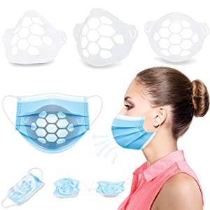 Face Mask Bracket - 5 Pack (Made in USA) Breathe Easier & Stay Cooler while Wearing Masks - No Makeup & Lipstick Smearing - Reusable 3D Inner Support Frame Brackets - Facial Shield for Skin Cover