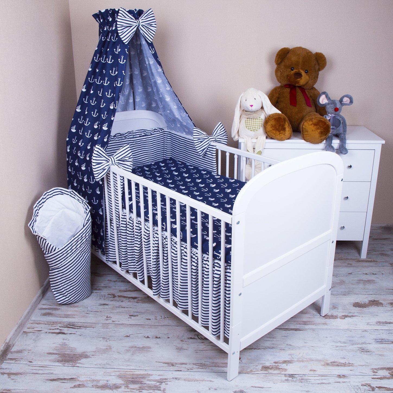 Amilian/® Baby Bettw/äsche 5tlg Bettset mit Nestchen Kinderbettw/äsche Himmel 100x135cm NEU Anker GRO/ß Vollstoffhimmel
