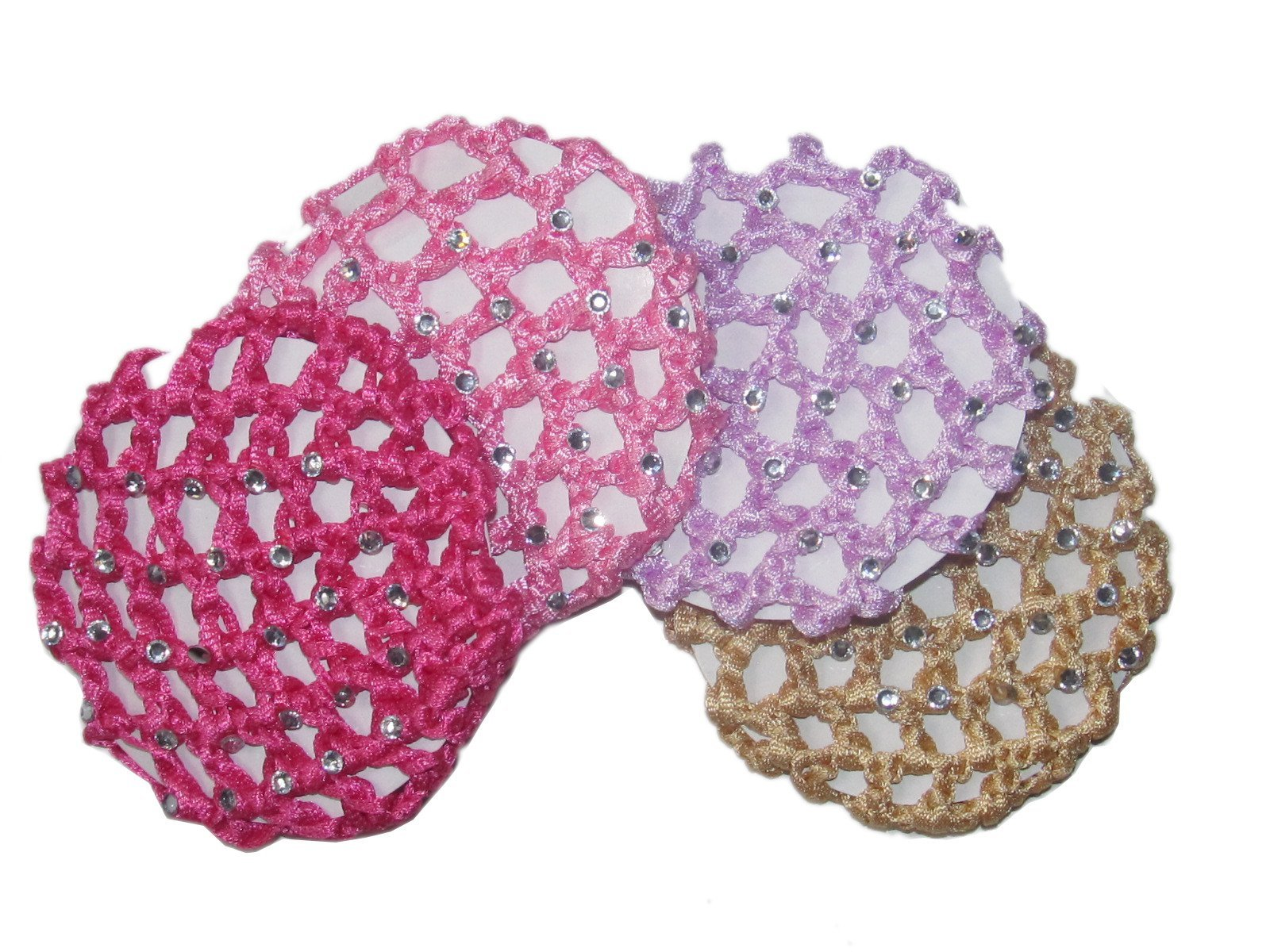 Ballerina Crochet Elastic Bun Cover W Rhinestones~ Choice of Colors (Set of 4)