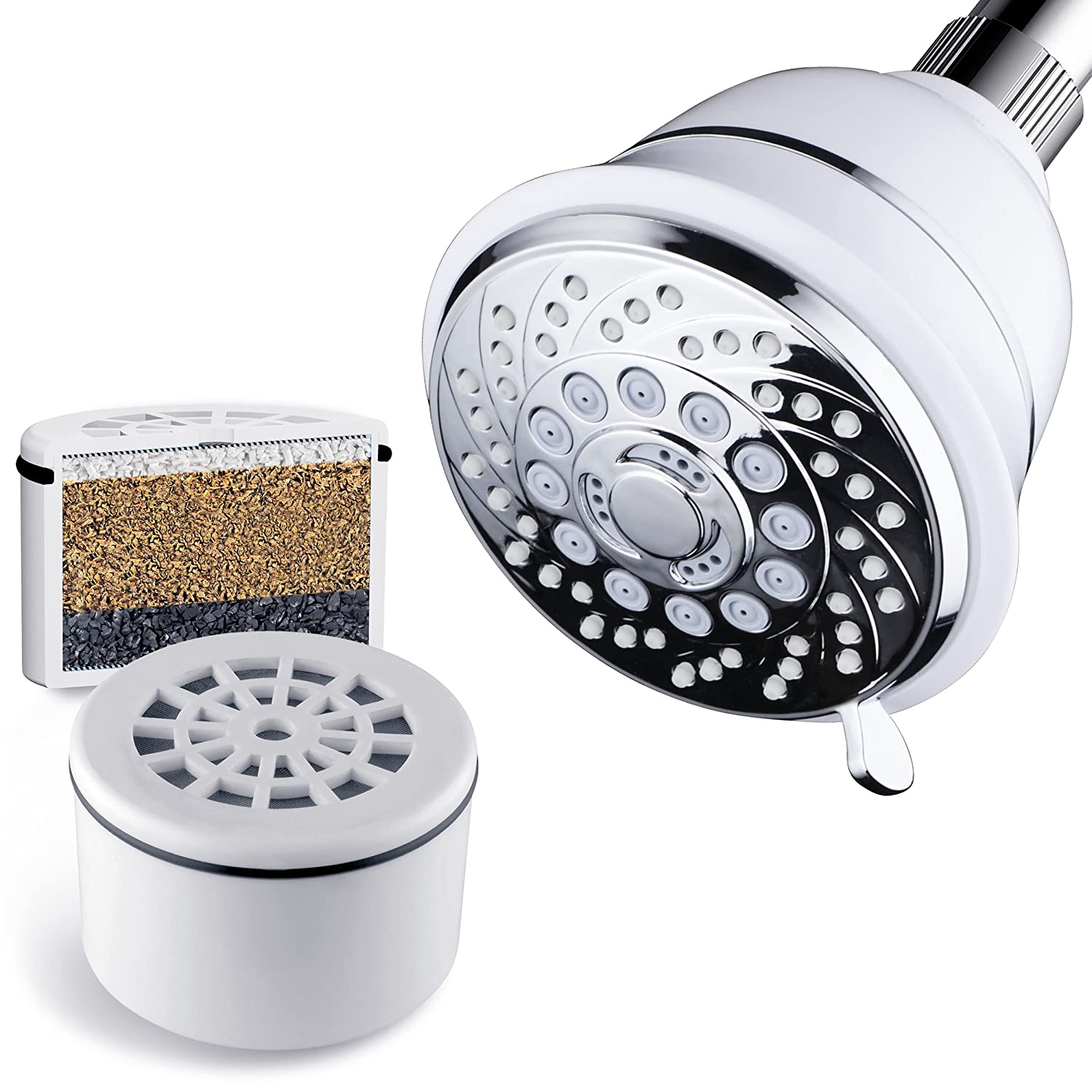 AquaCare By Hotel Spa Filtered Shower Head 4 Inch Chrome Face 6 Setting Showerhead with 3 Stage Shower Filter Cartridge Inside. (Dual White/Chrome Finish)