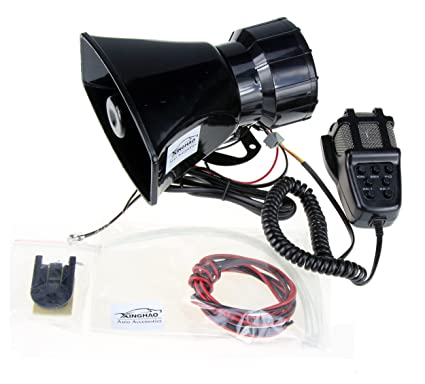 Bocinas de sirena altavoz, 12 V 80 W 7 Tono sirena sonido coche vehículo Horn con micrófono sistema de altavoces PA amplificador de sonido de ...