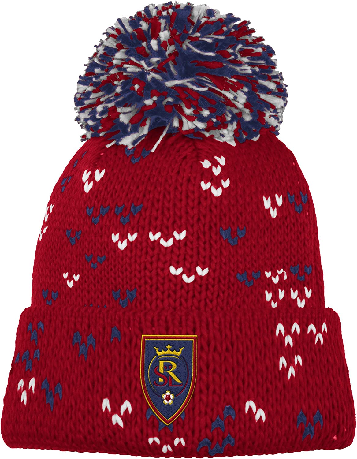 One Size adidas MLS Real Salt Lake Womens Fan Wear Cuffed Pom Knit Beanie Red