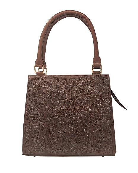 Amazon.com: Helena - Bolso de mano de piel artesanal con ...