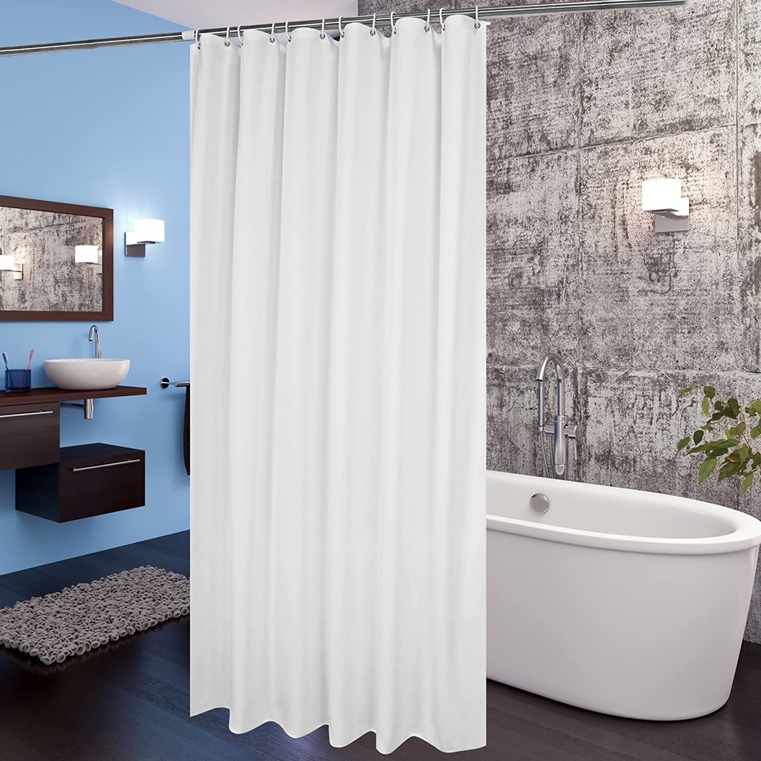 Details About White Fabric Shower Curtain Liner 72x78 Extra Long W Hooks Mildew Resistant