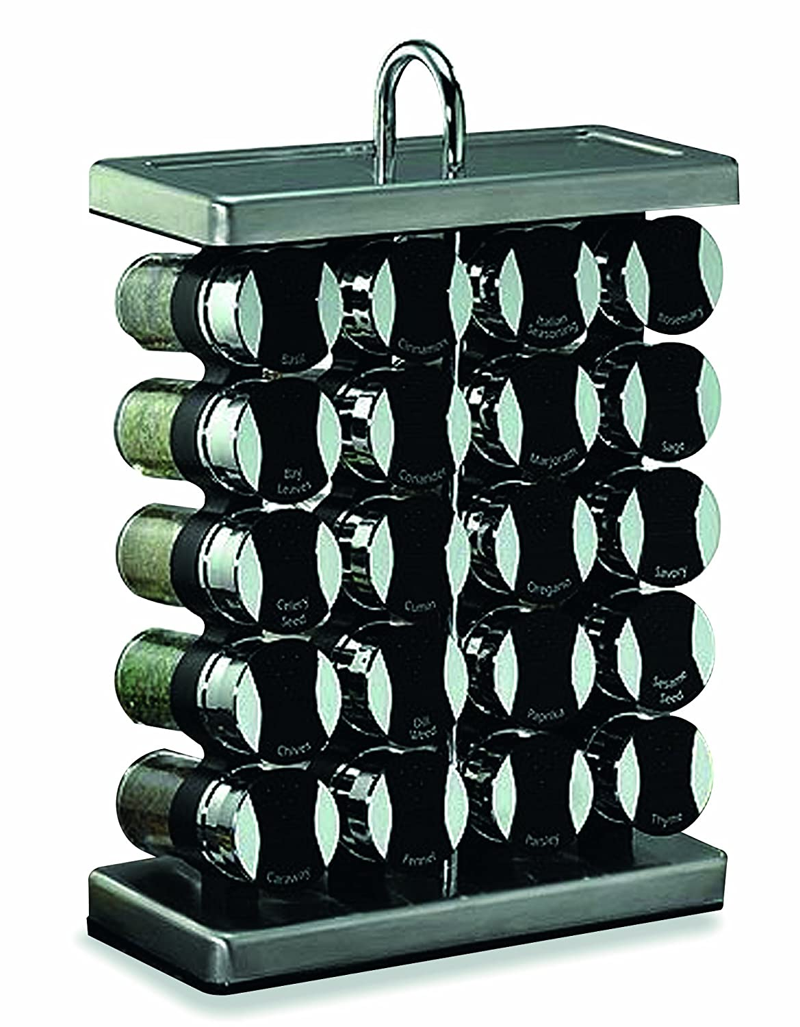 amazoncom olde thompson  jar stainlesssteel spice rack  - amazoncom olde thompson  jar stainlesssteel spice rack withspices kitchen  dining