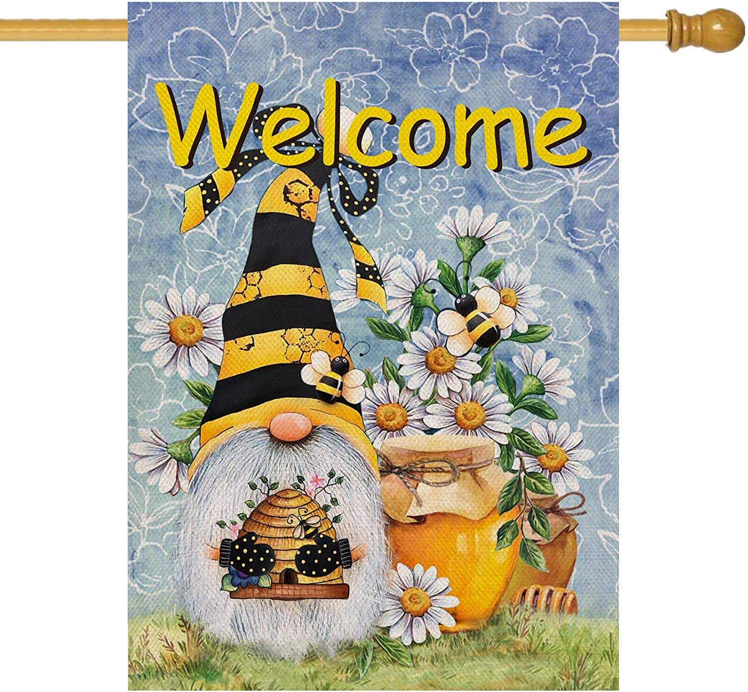 Furiaz Welcome Honey Bee Gnome House Flag, Spring Summer Garden Yard Outdoor Home Decorative Large Flag, Lawn Outside Daisy Flower Decorations Seasonal Farmhouse Burlap Decor Double Sided 28 x 40