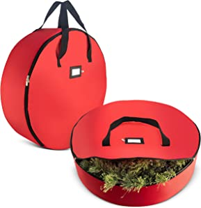 "2-Pack Christmas Wreath Storage Bag 36"" - Artificial Wreaths, Durable Handles, Dual Zipper & Card Slot, Holiday Xmas Tear Resistant Storage Container 420D Oxford Fabric"