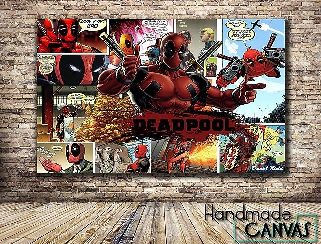 Deadpool comic book box framed canvas art print