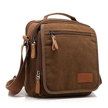 35f7ce0e3403 POLO VIDENG Men s Casual Canvas Shoulder Satchel Bag - Coffee  Amazon.in   Bags