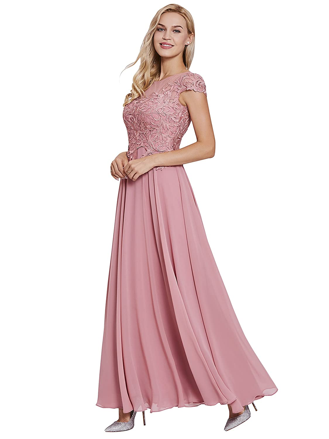 20864e46c8 Neckline:Scoop Neck Hemline/Train:Floor-Length Silhouette:A-line. Sleeve  Length:Cap Sleeve Back Style:Zipper-Up Fabric:Chiffon Embellishment: Appliques