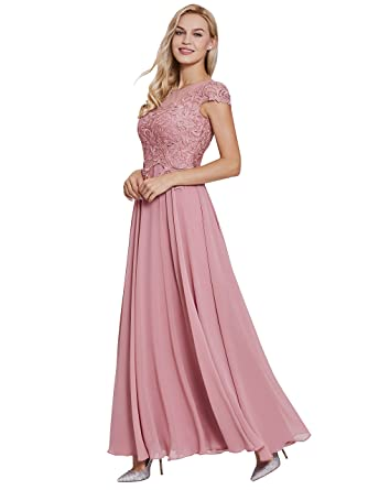Sisjuly Womens Cap Sleeve Prom Gown Appliques A-line Chiffon Evening Dresses 2 Peach