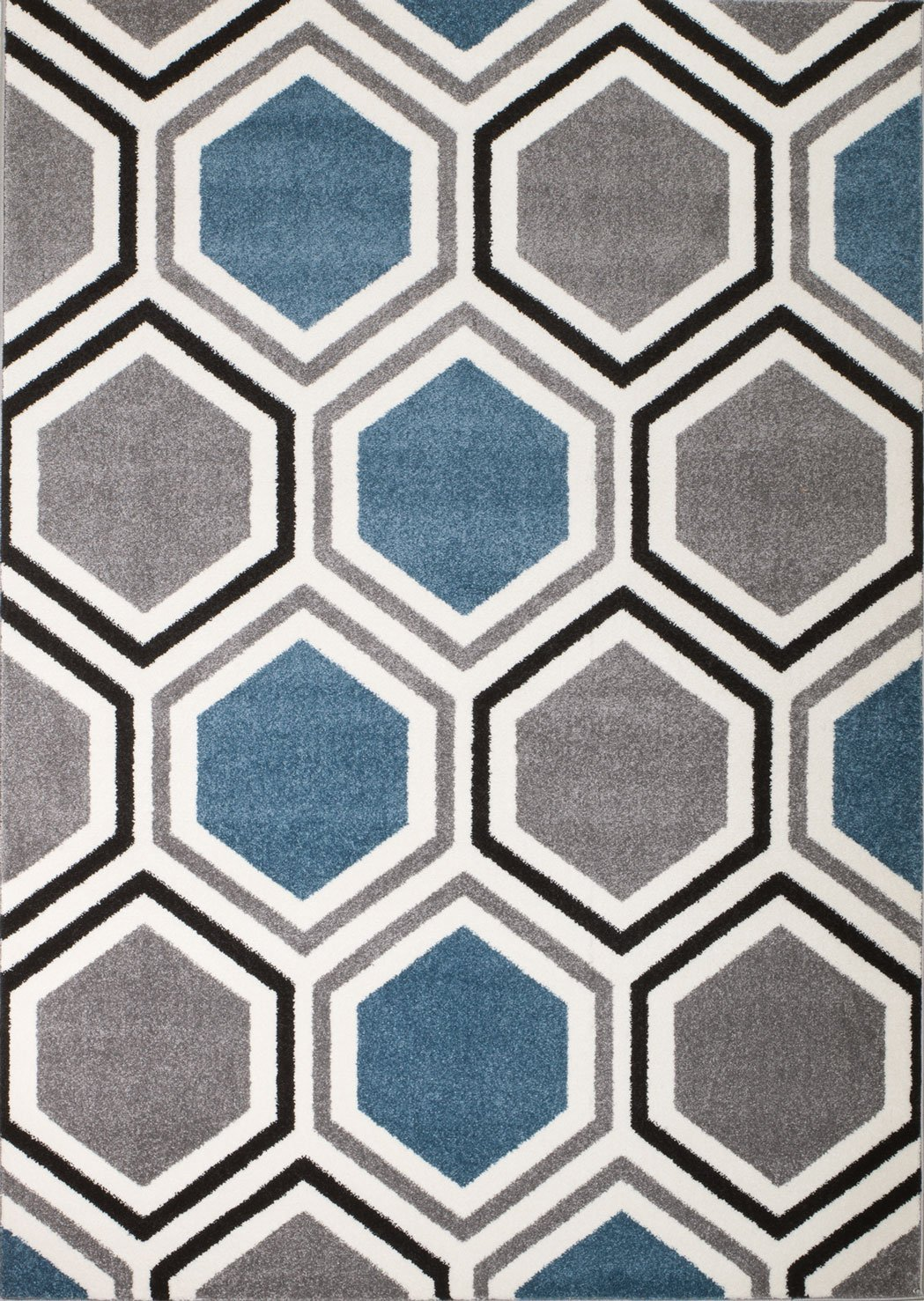 Rio Summit 313 Grey Blue White Area Rug Modern Geometric Many Sizes Available 2 x 7 , 2 x 7 hall way runner