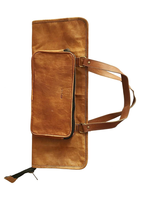 WerKens Hand Made Genuine Leather Drumstick Bag 100% Original Leather Drum Stick Bag Holder Percussion Mallet Bag with Floor Tom Hooks - DSB002