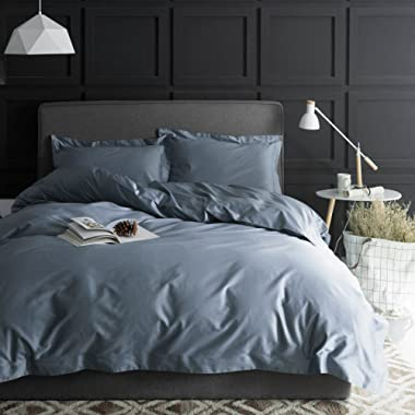 Eikei Solid Color Egyptian Cotton Duvet Cover Luxury Bedding Set High Thread Count Long Staple Sateen Weave Silky Soft Breathable Pima Quality Bed Linen (King, Dusty Blue)