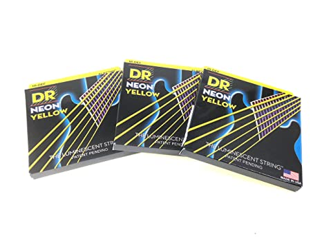 Dr cuerdas guitarra eléctrica cuerdas 3 pack amarillo neón 11 – 50 Heavy
