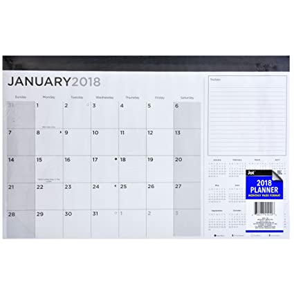 monthly planner desk calendar 2018