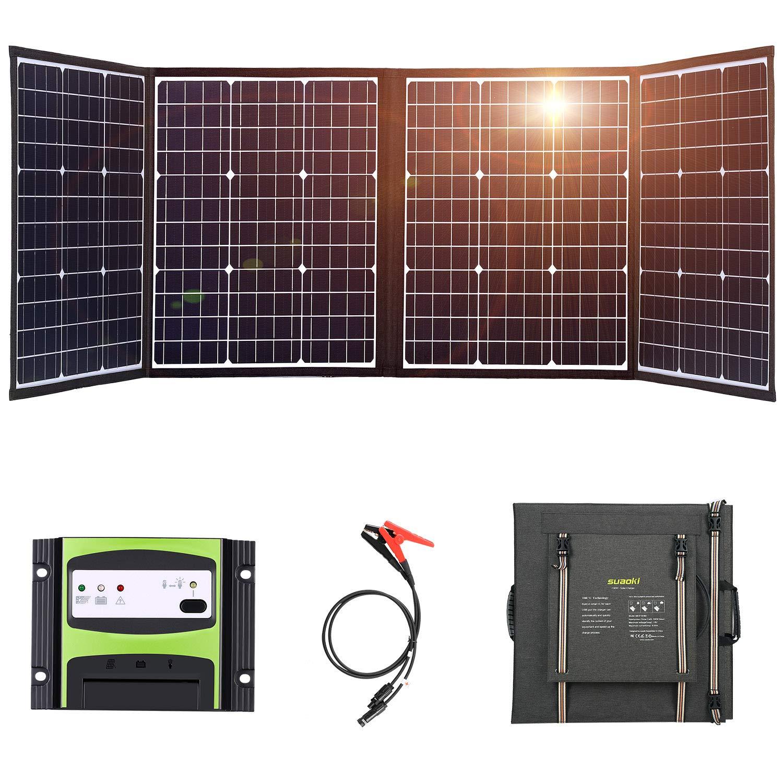 Suaoki - Cargador solar de 160 W, 2 puertos, panel solar ...