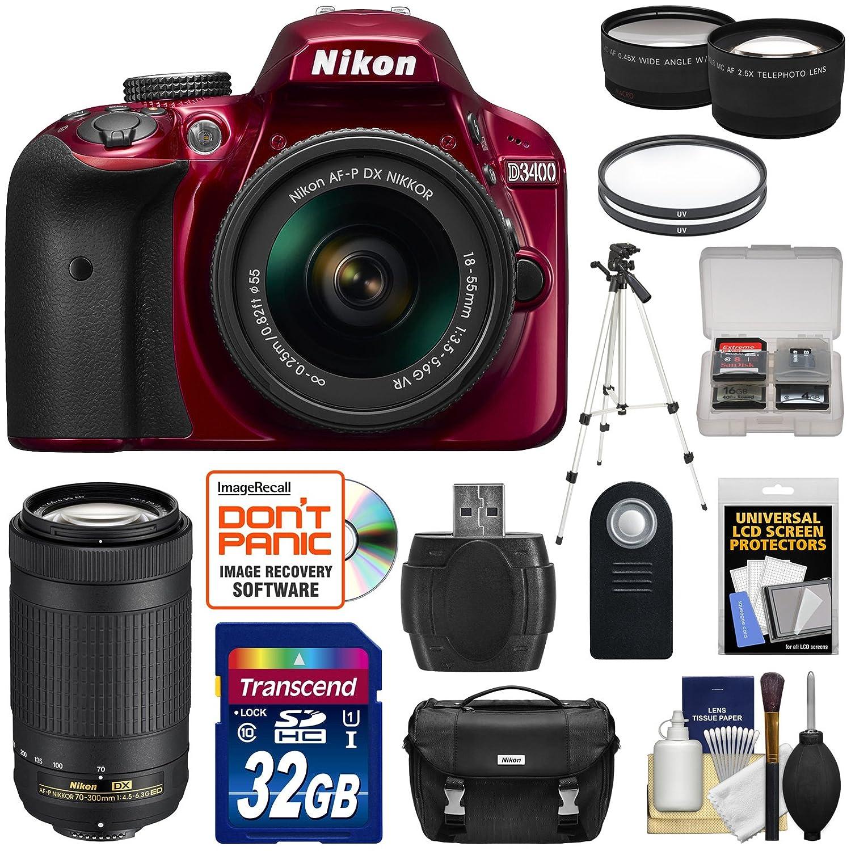 Nikon D3400 Digital SLR Camera (Red) & 18-55mm VR & 70-300mm DX AF-P Lenses with 32GB Card + Case + Tripod + Tele/Wide Kit (Certified Refurbished)
