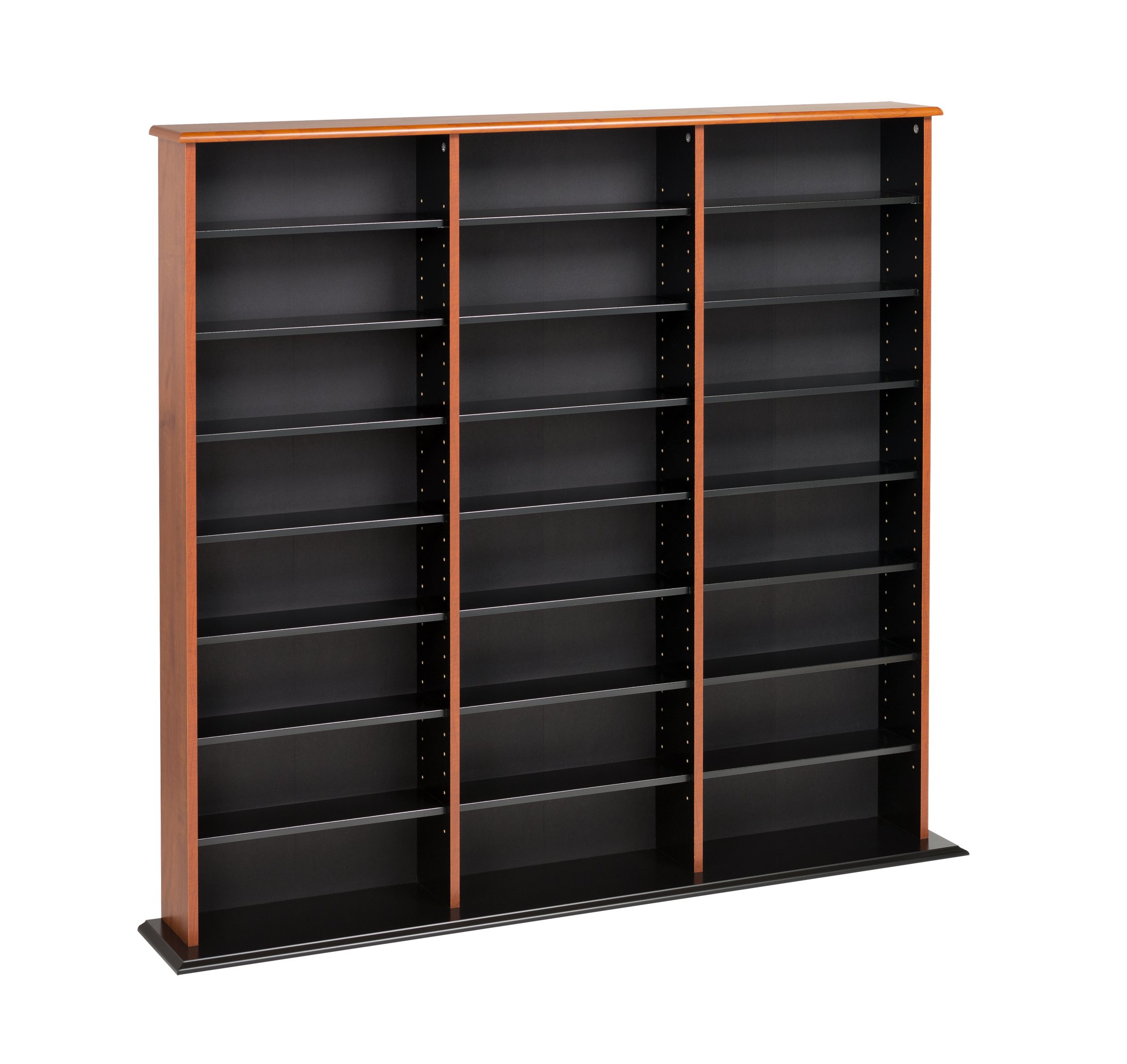 Cherry & Black Triple Width Wall Storage by Prepac