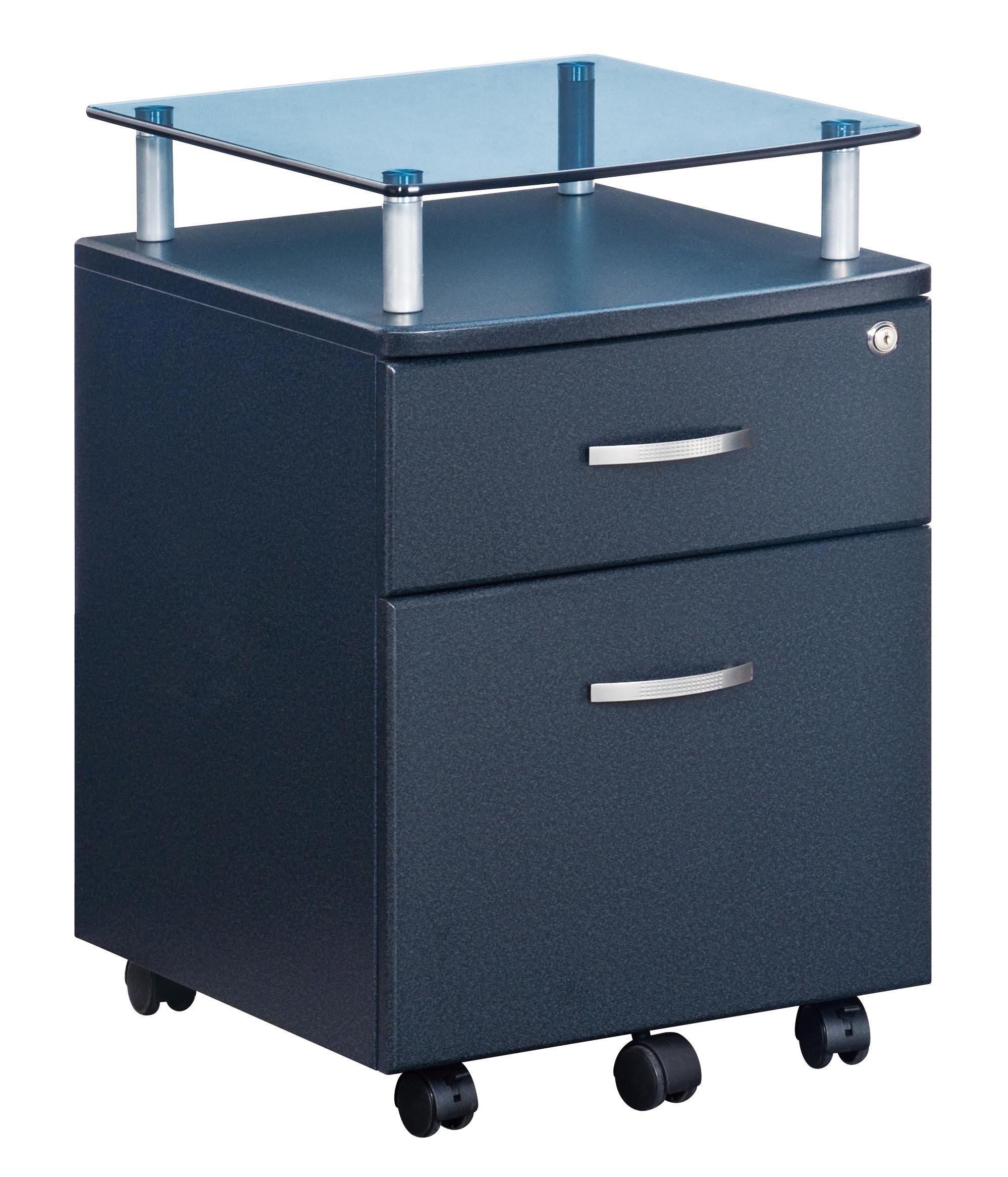 Techni Mobili RTA-S06-GPH06 Rolling File Cabinet with Glass Top, Graphite by Techni Mobili