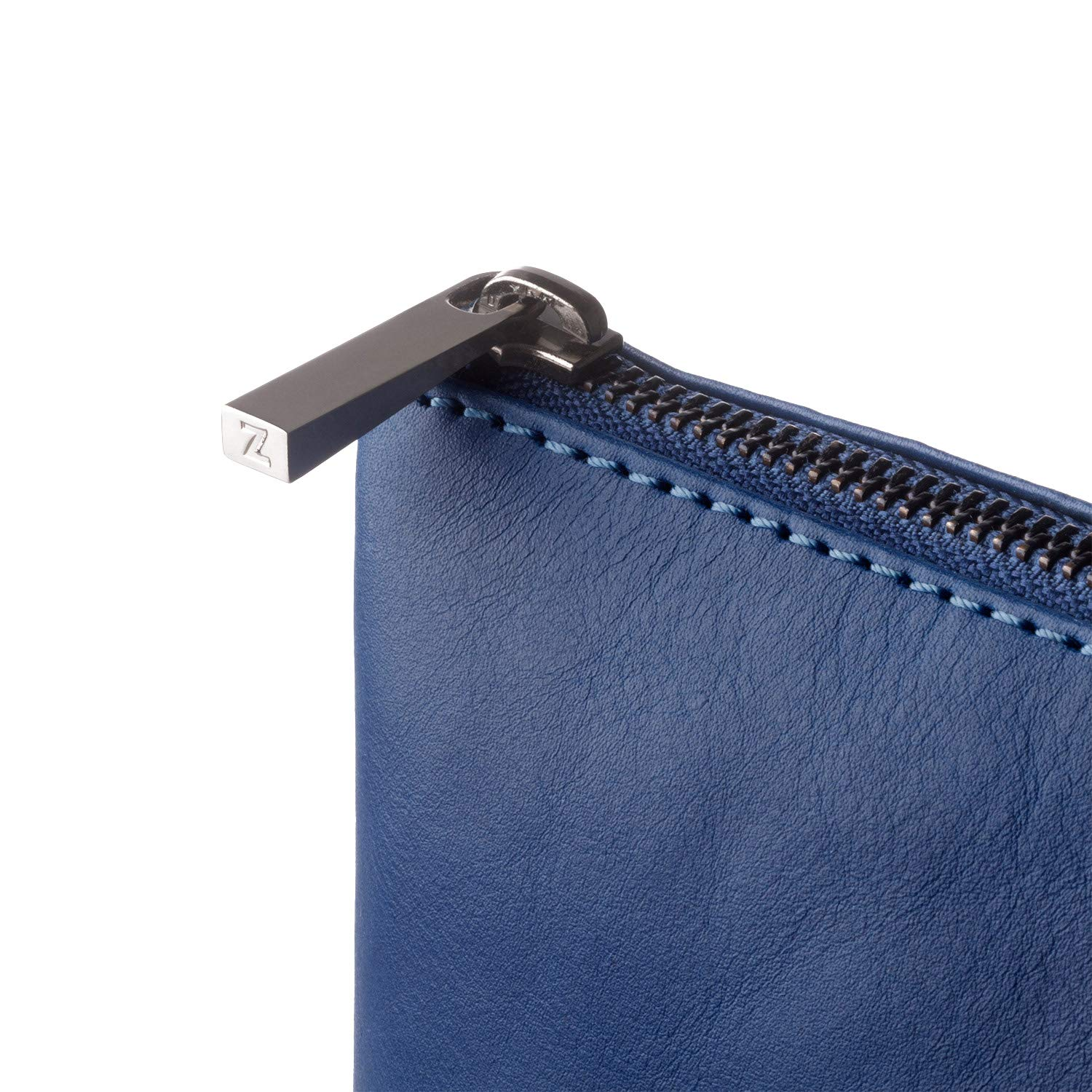 DUDU Clutch Bag Purse with Handle for ladies and men in Real Leather Slim & Large Handbag with Zipper closure - Isa - Blue by DuDu (Image #7)