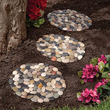 Bits And Pieces   Round Riverstone Stepping Stones Set   Decorative Stones  For Your Garden