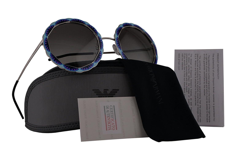 a0e37d4c55c8 Emporio Armani EA2054 Sunglasses Silver Blue w Grey Gradient Lens 55mm 301511  EA 2054  Amazon.co.uk  Clothing