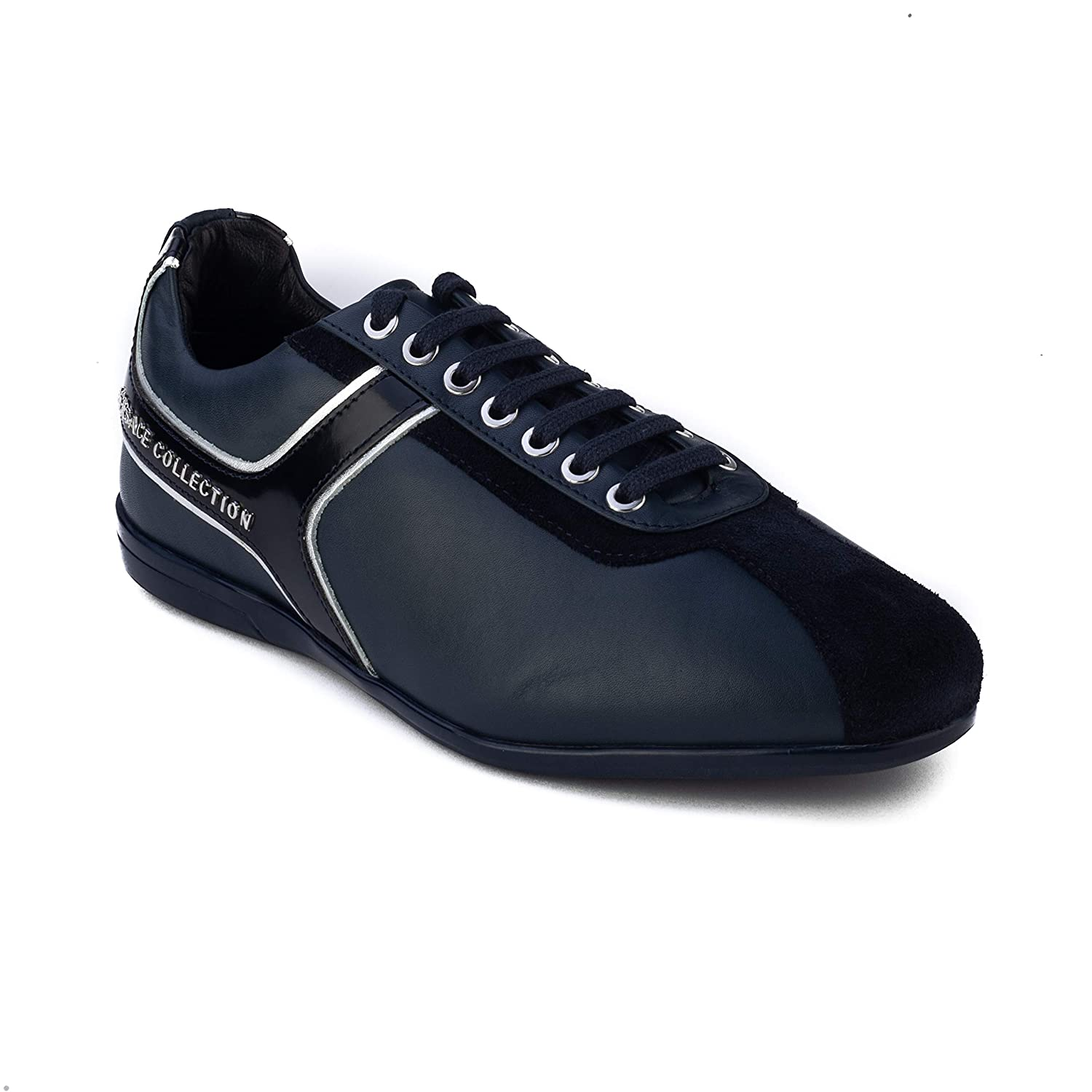 Versace Collection Mens Leather Low Top Sneaker Shoes Navy Blue Silver