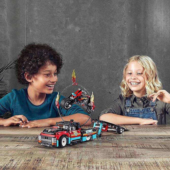 LEGO 乐高 Technic 机械组 42106 卡车与摩托车特技表演 积木玩具 8折$39.99 海淘转运到手约¥344