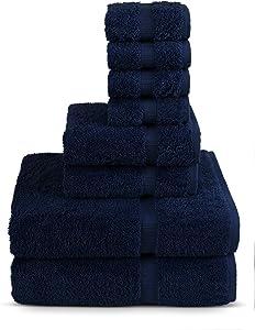 TURKUOISE TURKISH TOWEL 8 Piece Turkish Luxury Turkish Cotton Towel Set - Eco Friendly, 2 Bath Towels, 2 Hand Towels, 4 Wash Clothes (Navy)