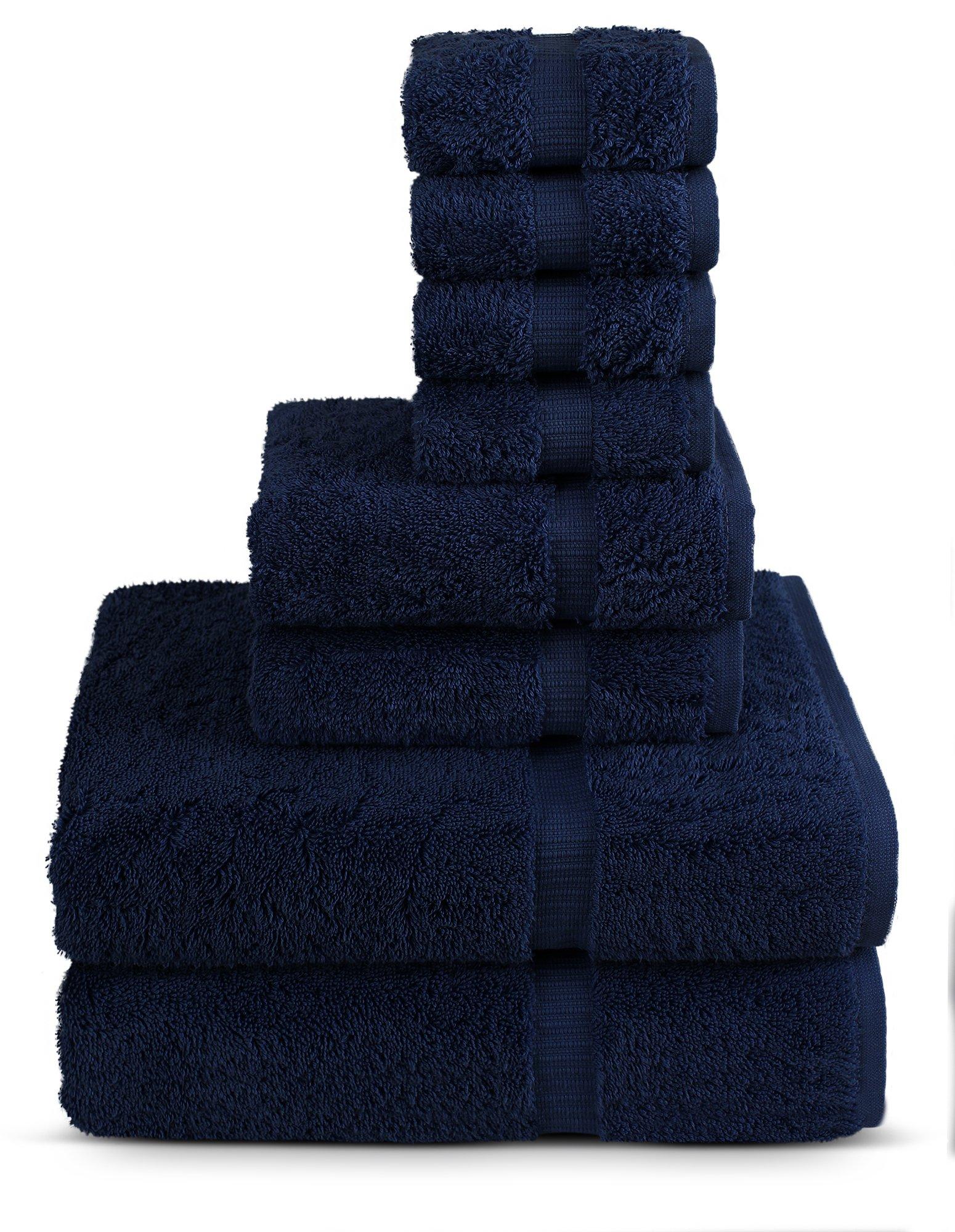 8 Piece Turkish Luxury Turkish Cotton Towel Set - Eco Friendly, 2 Bath Towels, 2 Hand Towels, 4 Wash Clothes by Turkuoise Turkish Towel (Navy Blue)