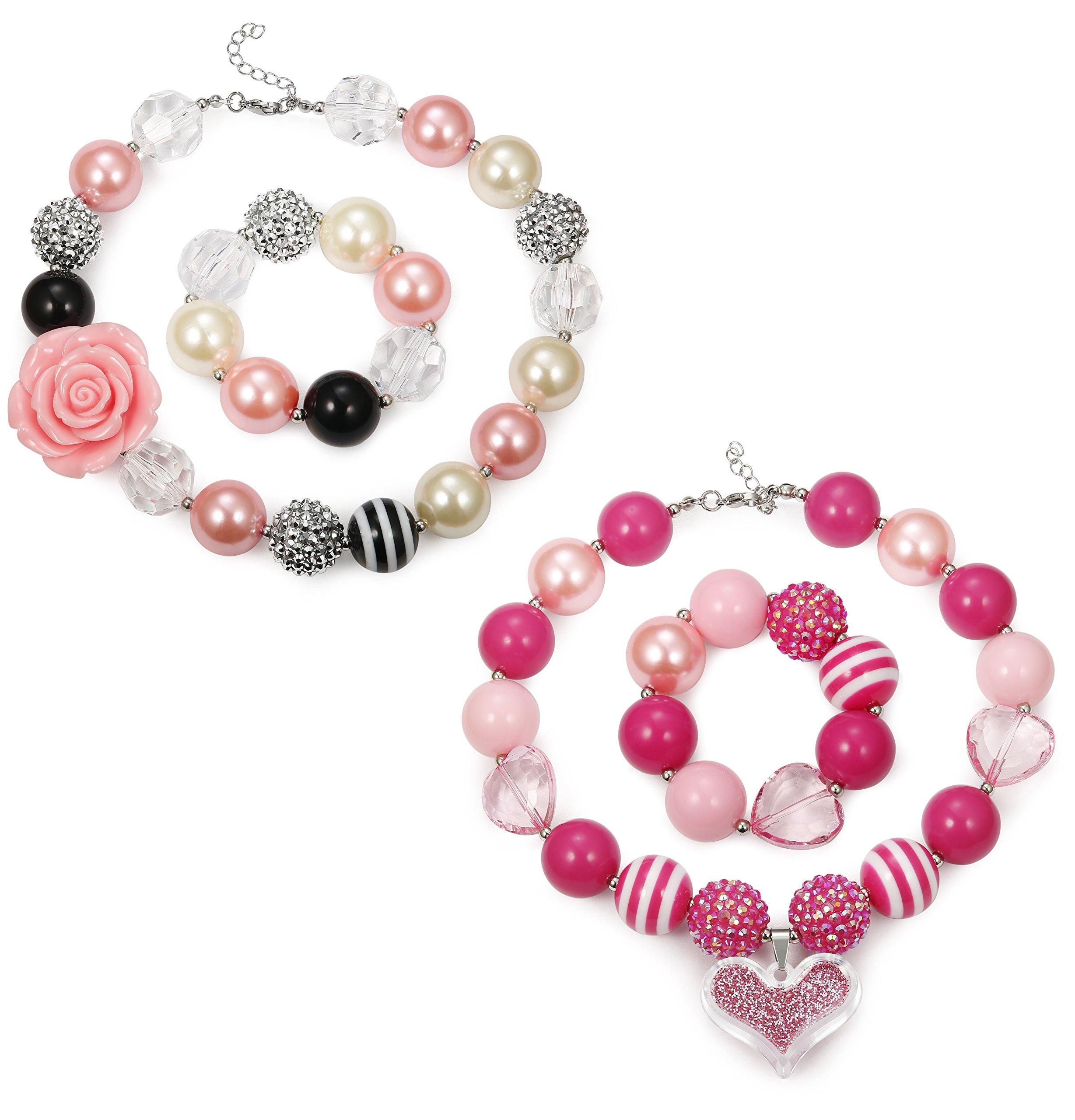 FINREZIO Bubblegum Necklace Chunky Bead Bracelet for Kids Girls