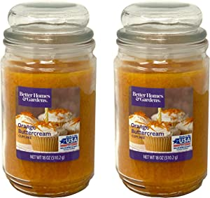 Better Homes Gardens 18oz Scented Candle, Orange Buttercream Cupcake 2-Pack