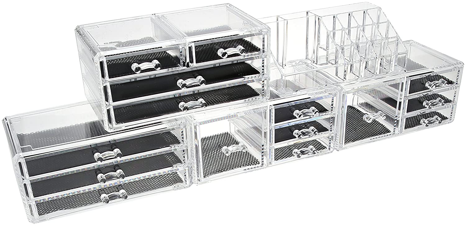 Unique Home Large Capacity Make Up Acrylic Jewelry Cosmetic Storage Box Clear Makeup Organizer,Countertop,5 Piece Set